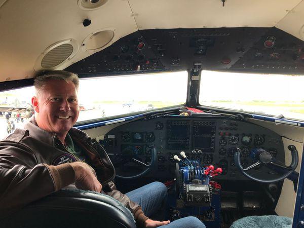 Captain Jeff Coffman in the cockpit of The Spirit of Benovia.