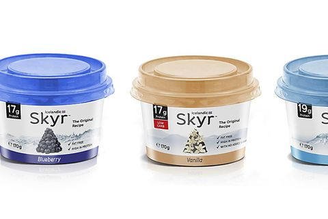 This is precisely what the skyr sold at Waitrose will look like, in blueberry, vanilla and natural flavours.
