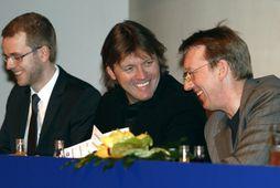 Jón Sigurðsson, Jón Ásgeir Jóhannesson og Pálmi Haraldsson á aðalfundi FL Group 2008.