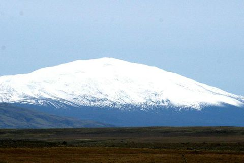 Hekla looking innocent with a cover of snow. Recent measurements indicate that it could blow at any moment.