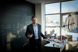 Alexei Navalny á skrifstofu sinni í Moskvu.