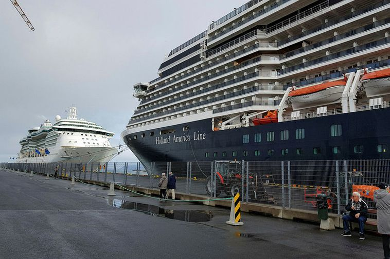 A cruise liner in Reykjavik harbour.