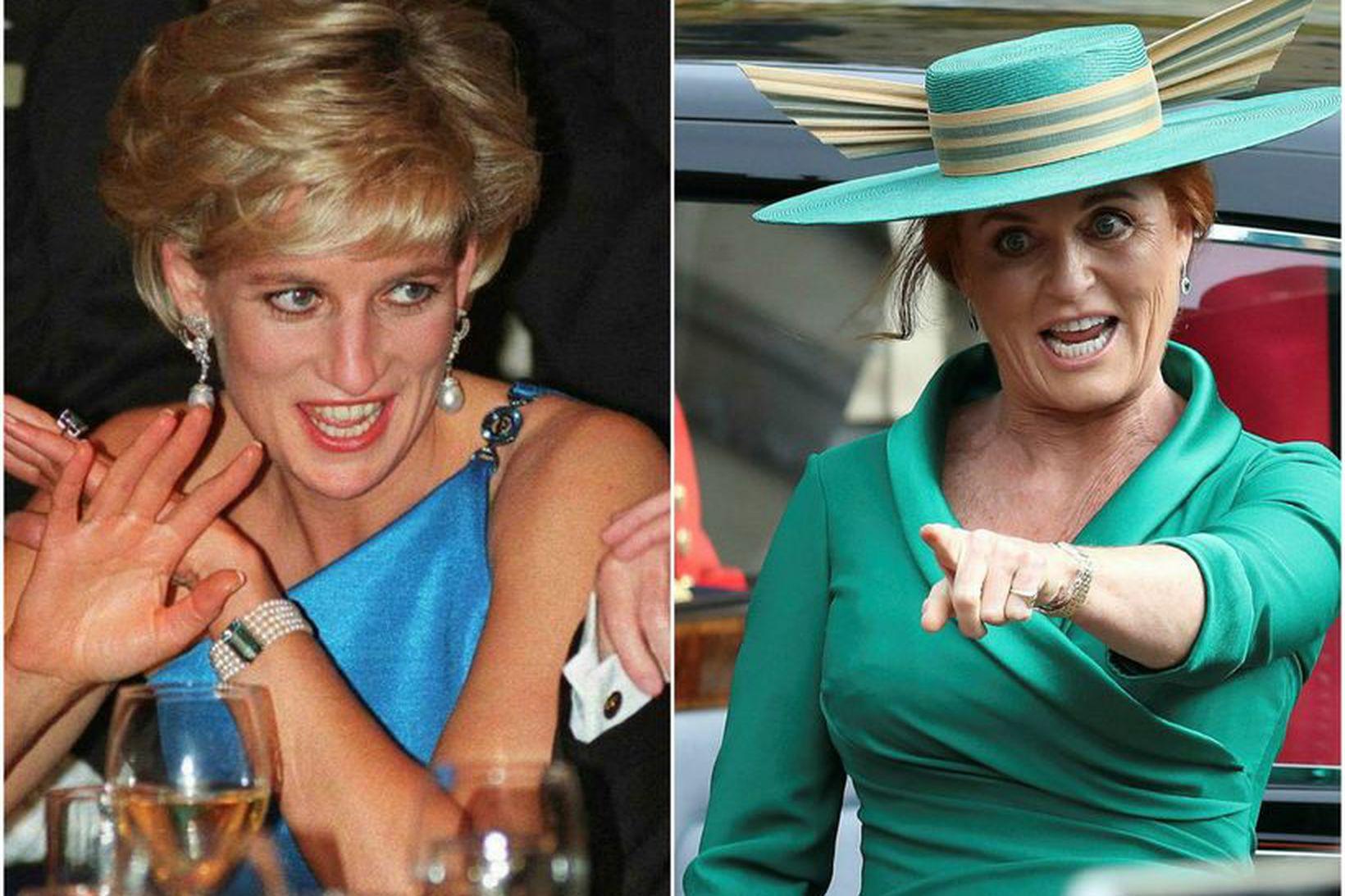 Díana prinsessa og Sarah Ferguson voru svilkonur og bestu vinkonur.