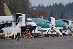 Boeing 737-MAX-flugvélar á flugvellinum í Renton í Washington-ríki í Bandaríkjunum þar sem verksmiðjur Boeing eru. ...