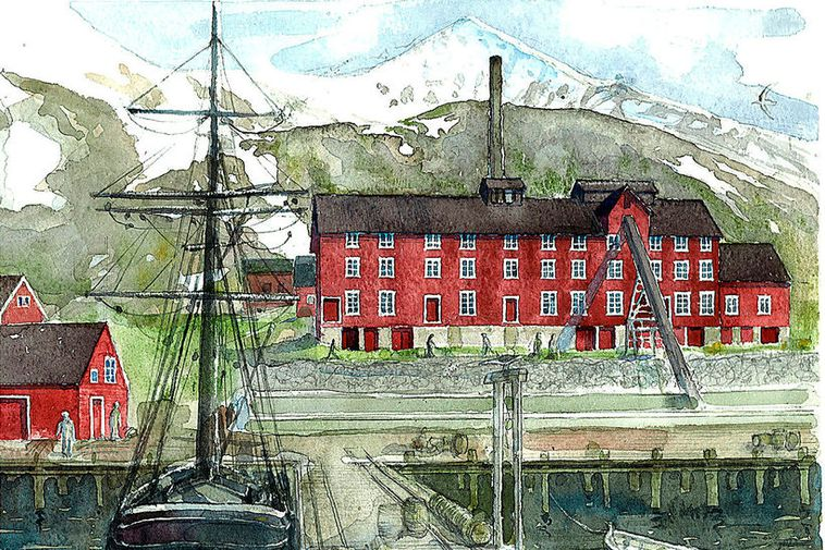 A watercolor picture of the Evanger herring processing plant.