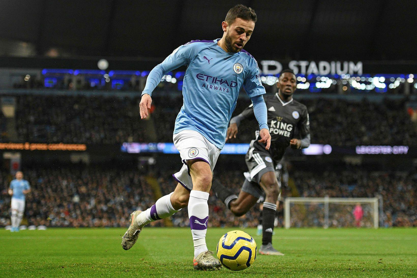 Bernardo Silva í leik með Manchester City gegn Leicester sem …