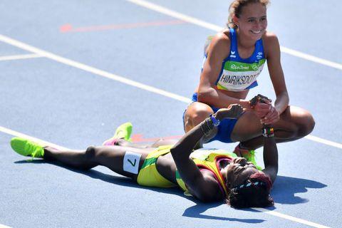 Aníta Hinriksdóttir after her qualification heat in Rio today.