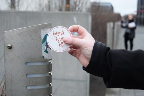Iceland is for everyone, it says on one version of the sticker.