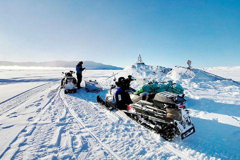 Specialist from the Icelandic Met Office installing equipment on Askja volcano.