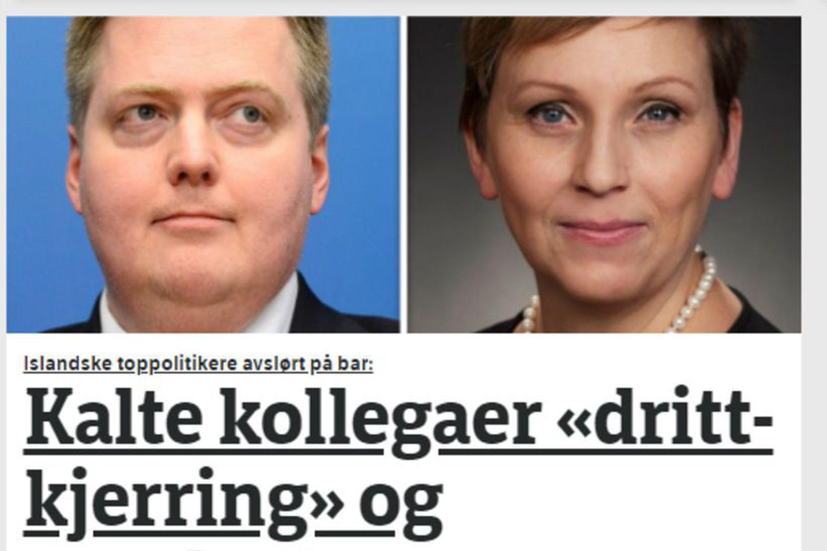 Skjáskot af efstu frétt vefsíðu NRK í morgun.