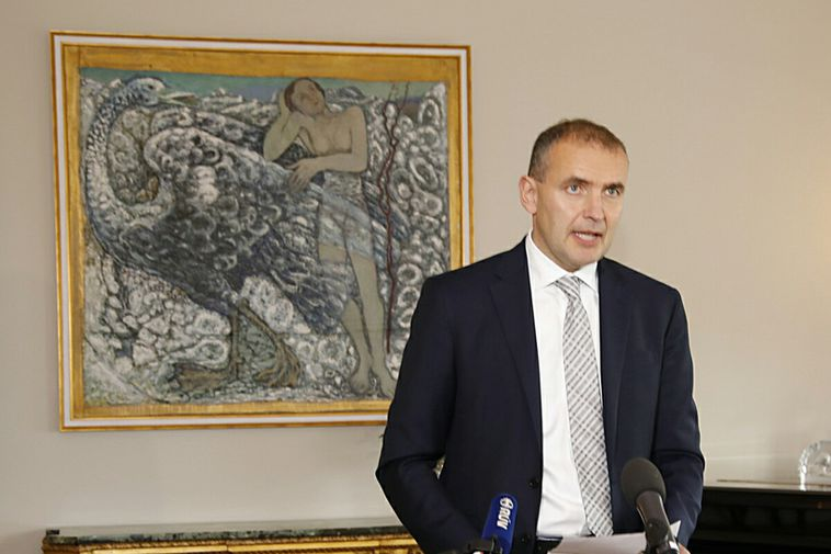 Guðni Th. Jóhannesson, President of Iceland, speaking to the press today at Bessastaðir.