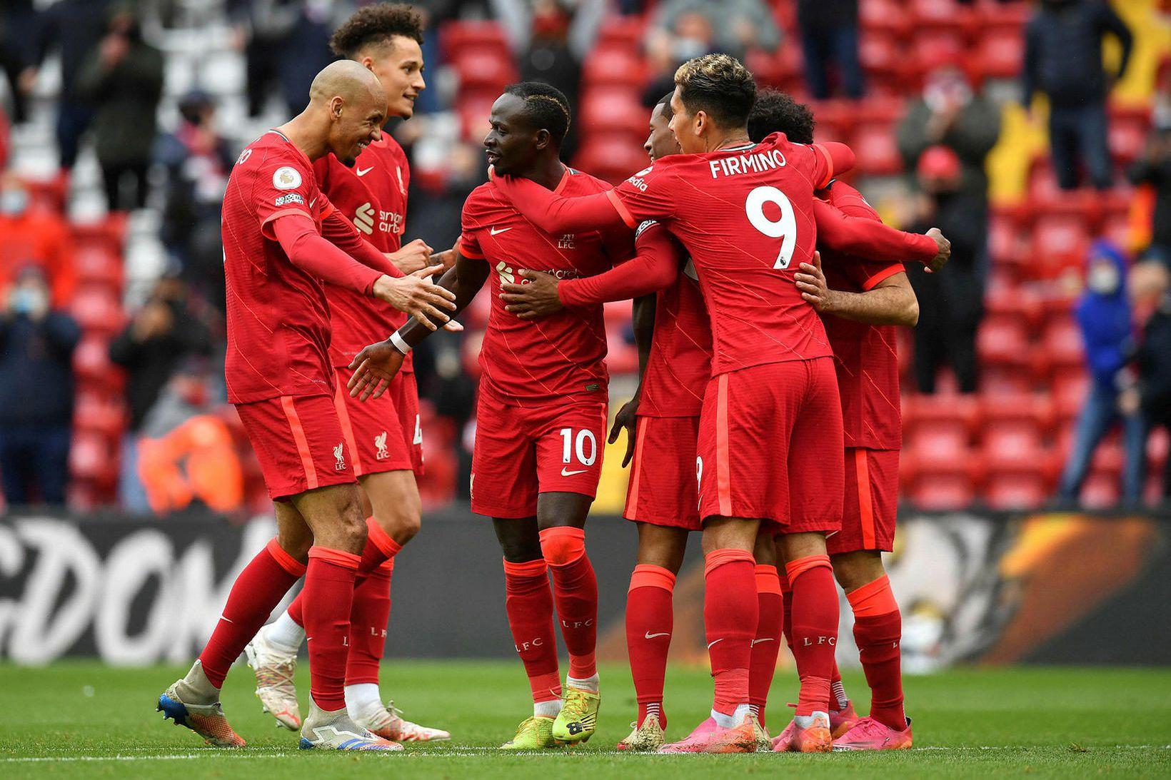 Sadio Mané skoraði tvö fyrir Liverpool.