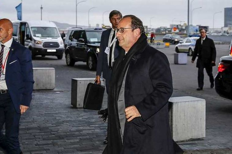 Hollande arriving at Harpa for the Arctic Circle conference.