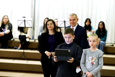 President Guðni Th. Jóhannesson and First Lady Eliza Reid attended the opening of the reading contest.