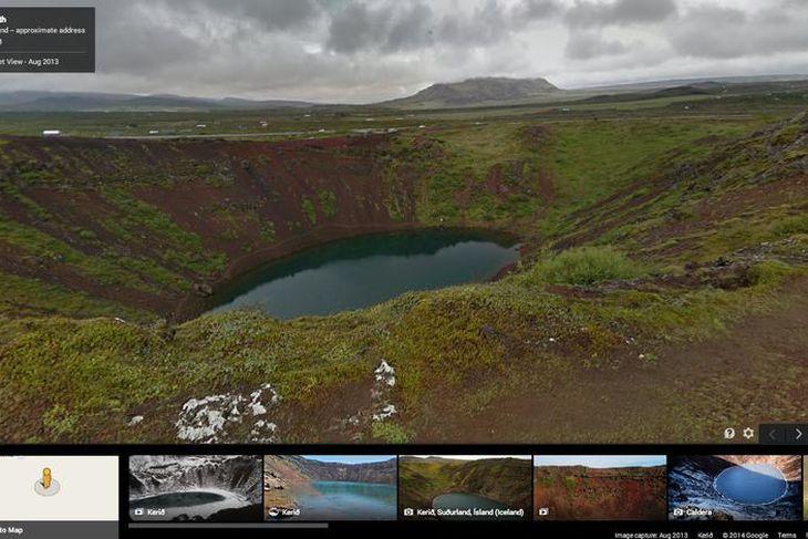 Kerið er einnig vandlega skrásett í Google Street View.