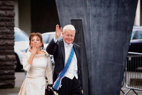 Former First Lady Dorrit Mousaieff and former President Ólafur Ragnar Grímsson at the inauguration of new Iceland President, Guðni Th. Jóhannesson.