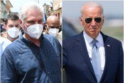 Miguel Díaz-Canel, forseti Kúbu, og Joe Biden, forseti Bandaríkjanna.