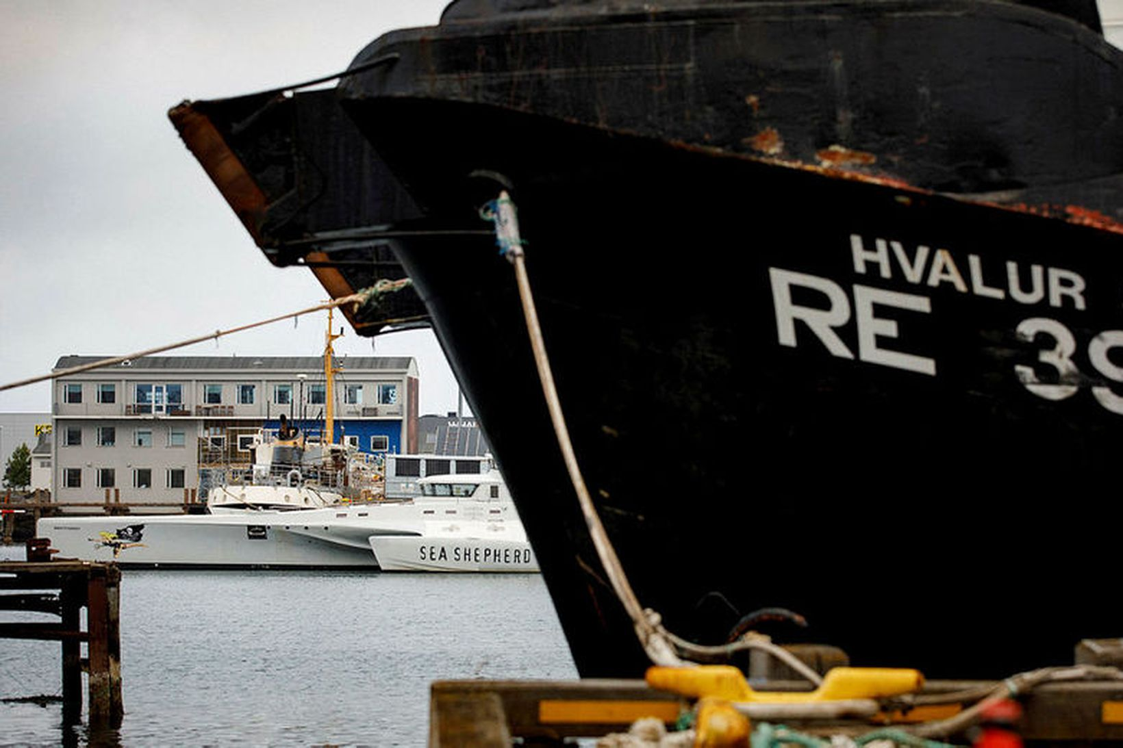 Hvalur 9, veiðiskip Hvals hf., liggur við bryggju í Reykjavíkurhöfn.
