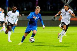 Albert Guðmundsson lét að sér kveða í Sambandsdeild UEFA í kvöld.