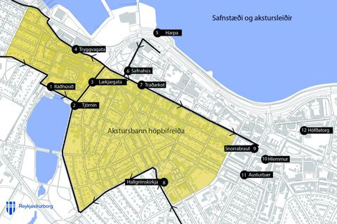Buses will not be allowed inside the yellow area, with the exception of Lækjargata street.