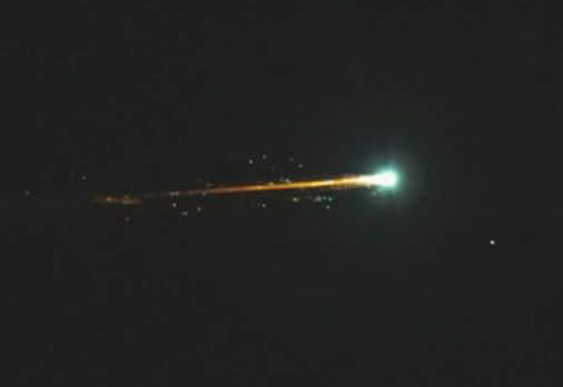 A meteor, seen in the sky above Iceland in 2017.