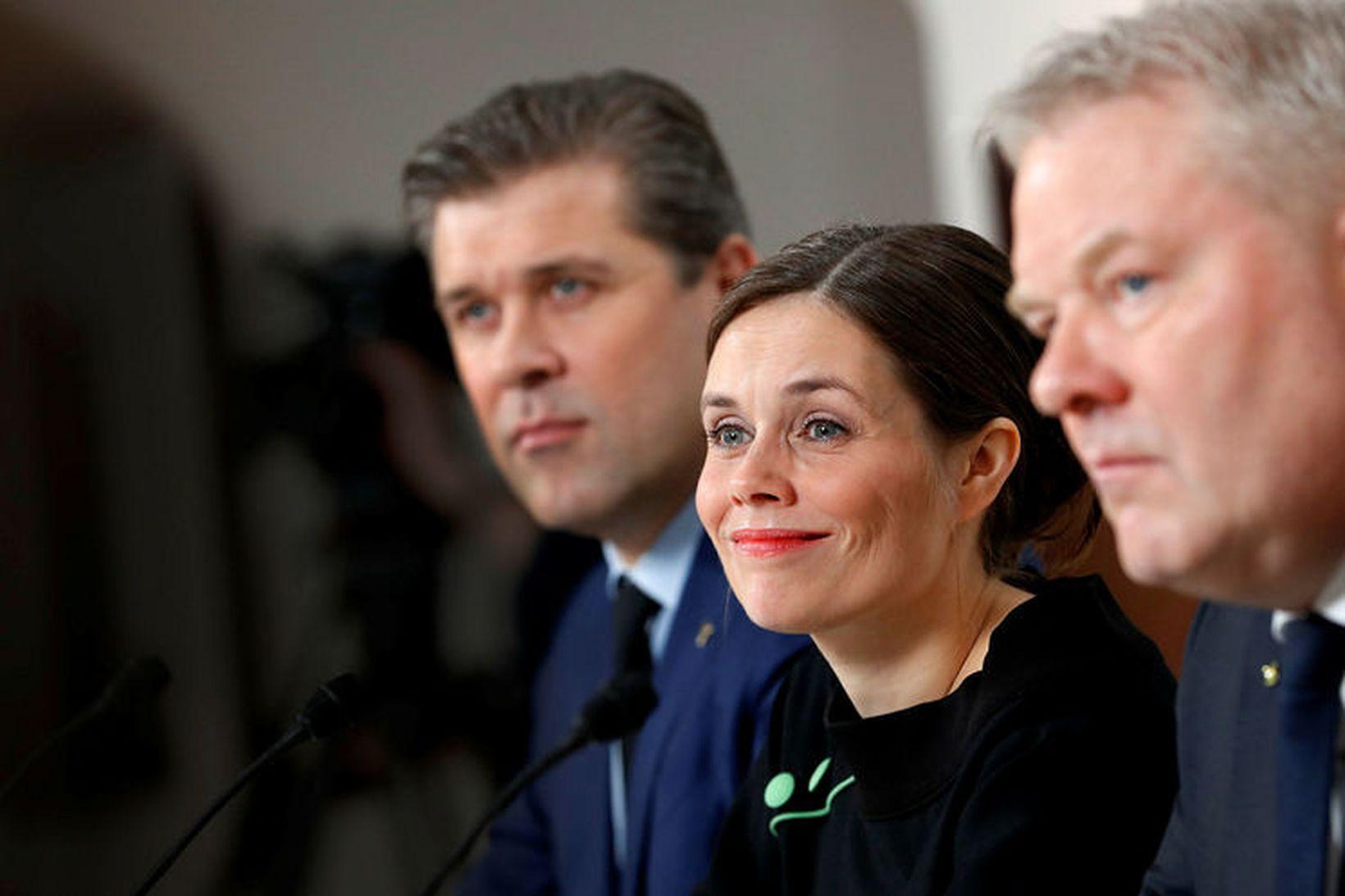 Katrín Jakobsdóttir, Bjarni Benediktsson og Sigurður Ingi Jóhannsson.