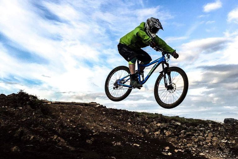 A mountain biker in full swing.
