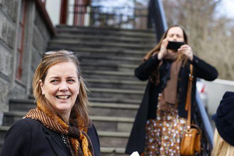 Svandís Svavarsdóttir heilbrigðisráðherra og Katrín Jakobsdóttir forsætisráðherra.
