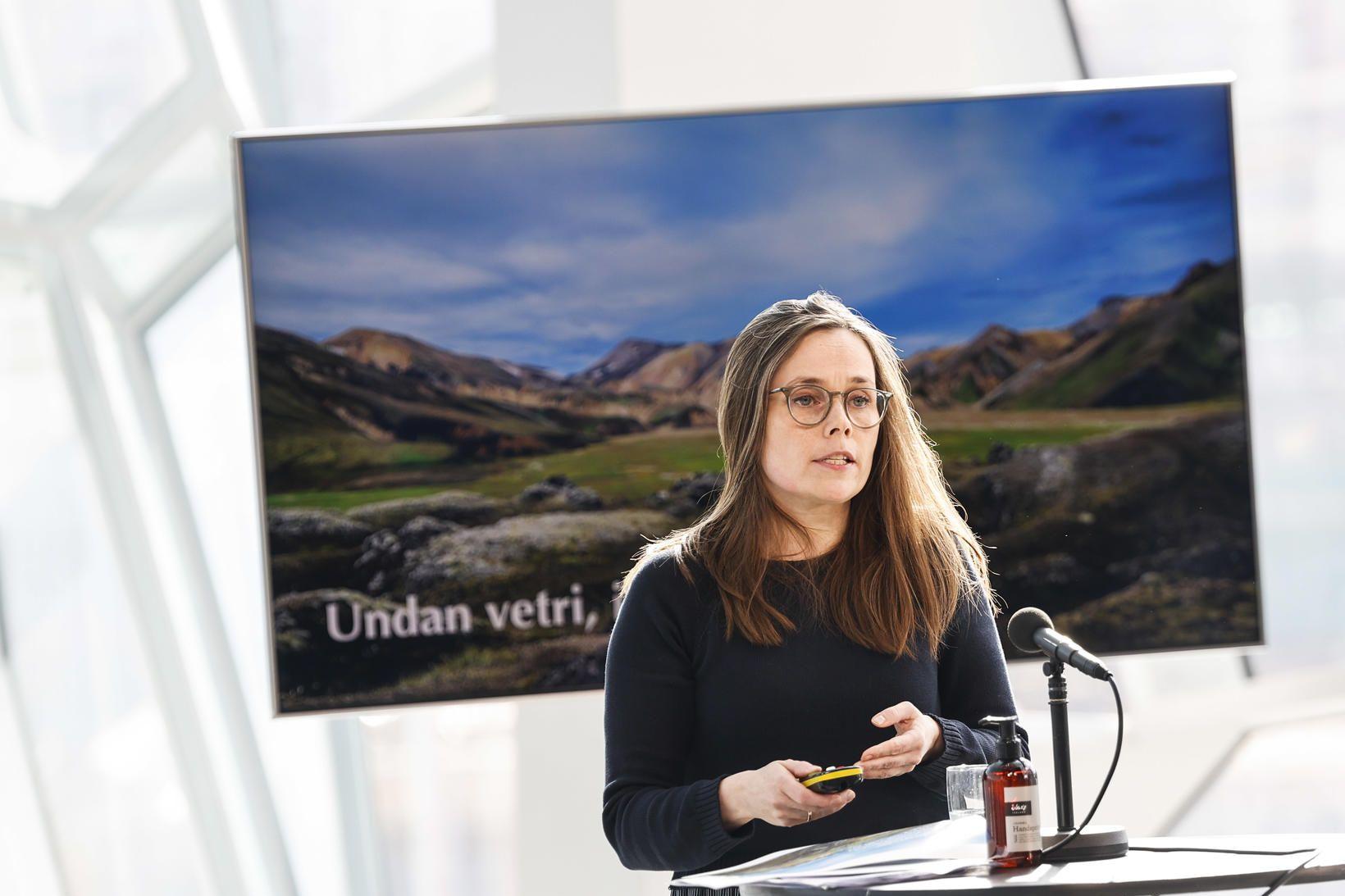 Katrín Jakobsdóttir á fundinum í dag.