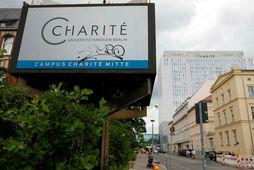 Charité-sjúkrahúsið í Berlín þar sem Navalní fær nú aðhlynningu.