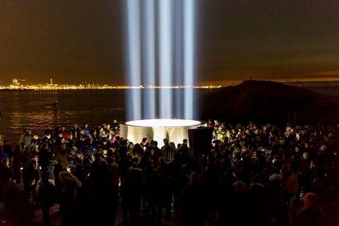The art piece by Yoko Ono in Viðey Island.