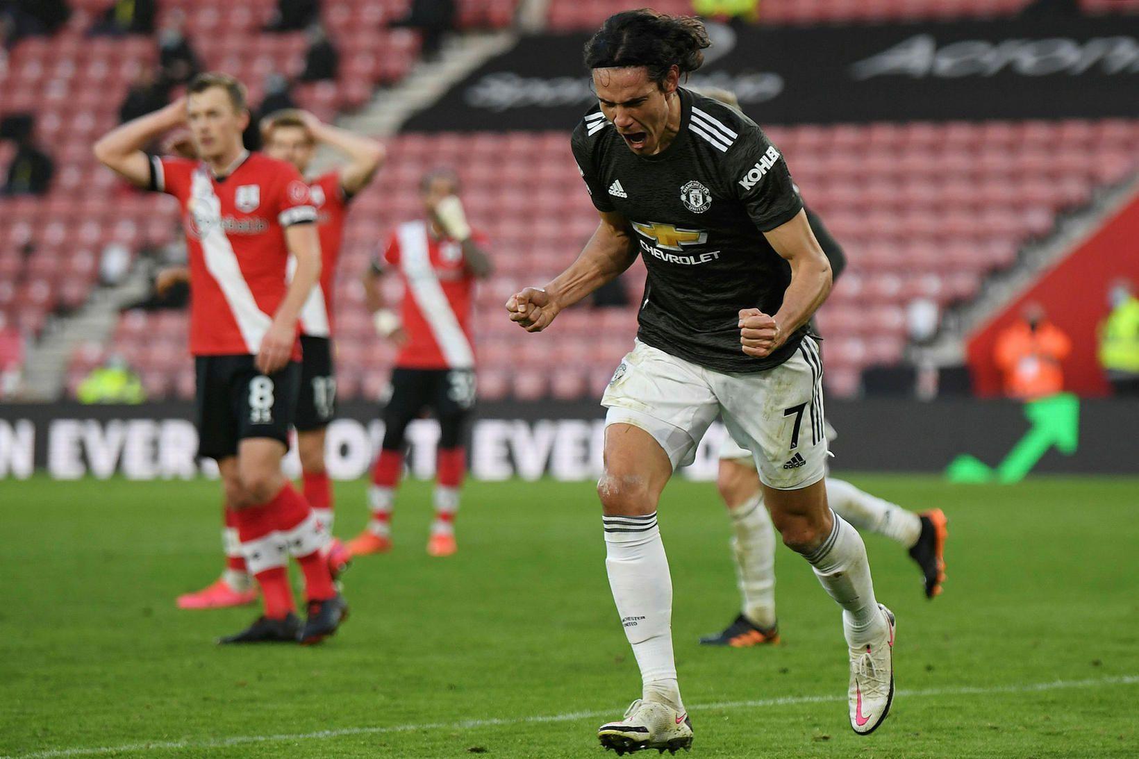 Edinson Cavani var hetja Manchester United í gær.