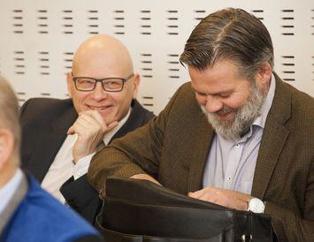 Karl Wernersson og Guðmundur Ólason í Héraðsdómi Reykjavíkur.