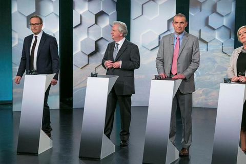 Presidential candidates on Rúv national TV last night. From left to right: Andri Snær Magnason, Davíð Oddsson, Guðni Th. Jóhannesson and Halla Tómasdóttir.