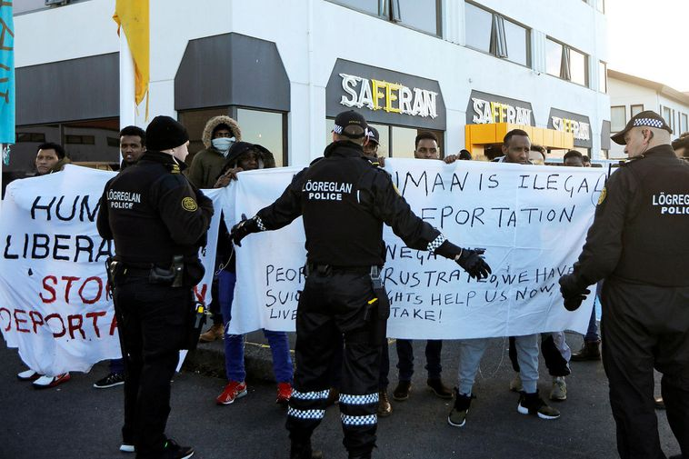 Asylum seekers, during a protest last year.