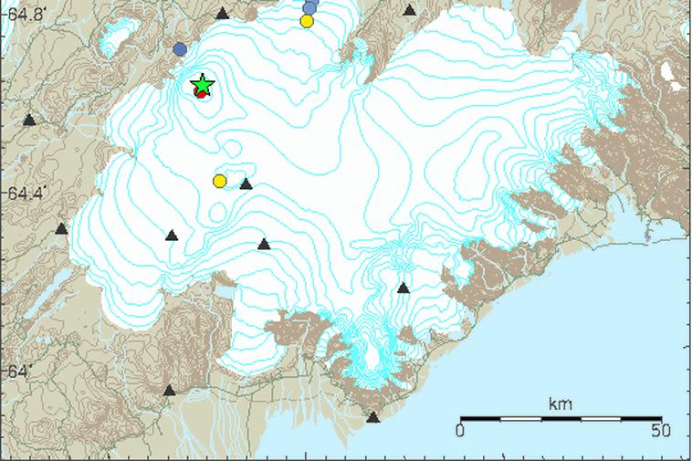 Bárðarbunga, a stratovolcano located under Vatnajökull, Iceland's most extensive glacier.