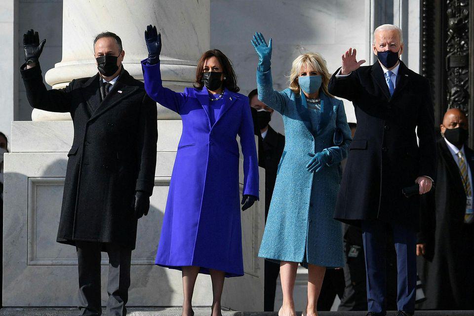 Joe Biden, Kamala Harris og makar þeirra við komuna í þinghúsið.
