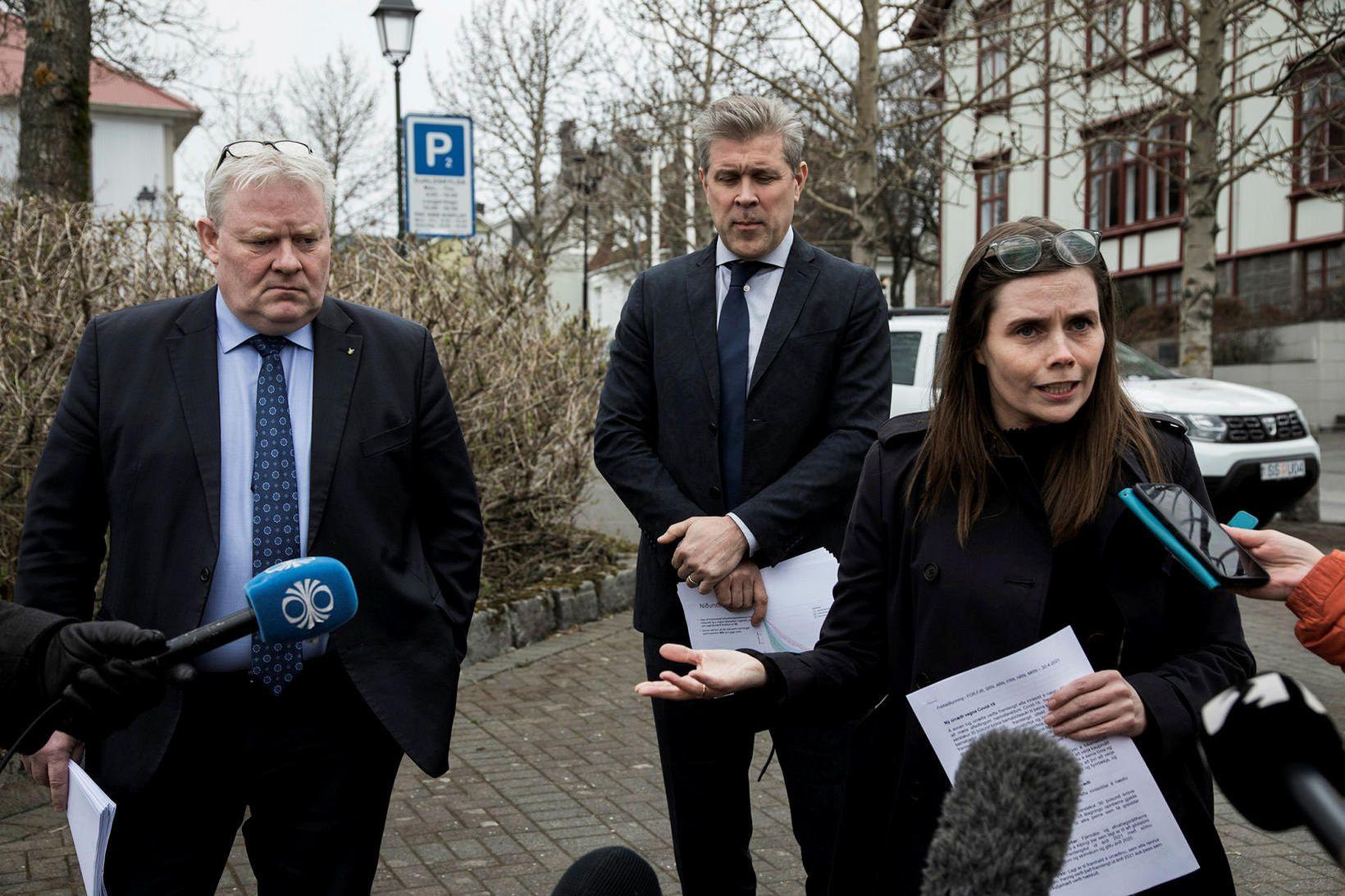 Flokksformennirnir Sigurður Ingi Jóhannsson, Bjarni Benediktsson og Katrín Jakobsdóttir.