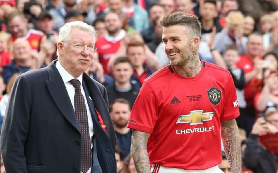 David Beckham og Sir Alex Ferguson eru mátar í dag.