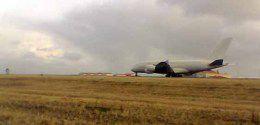 A380 flugvélin á Keflavíkurflugvelli í dag.