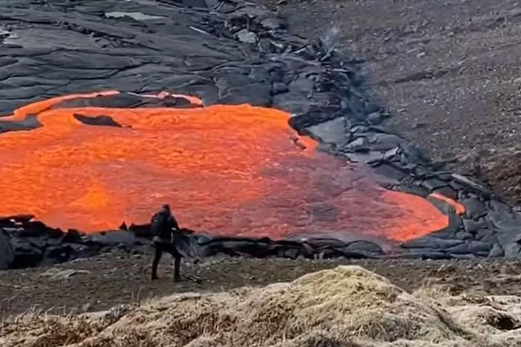 A bright red pool of lava has formed.