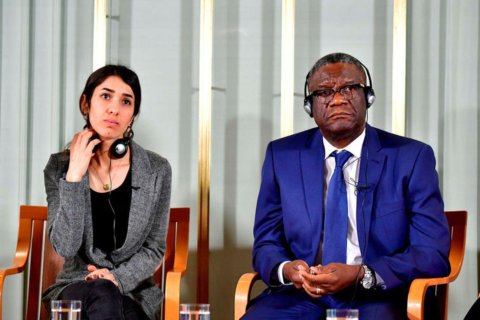 Nadia Murad og Denis Mukwege, handhafar friðarverðlauna Nóbels árið 2018, …