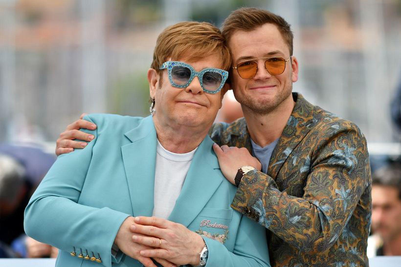 Það fór vel á með þeim Elton John og Taron …