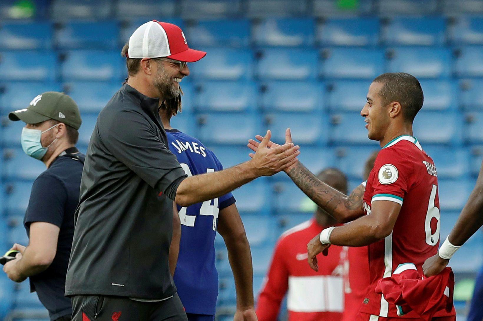 Thiago er tæpur fyrir stórleikinn í kvöld gegn Arsenal.