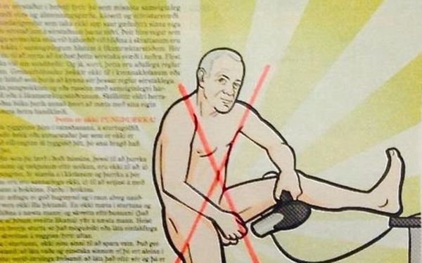 Sundhöllin had a sign up telling men not to dry their scrotum with a hairdryer.