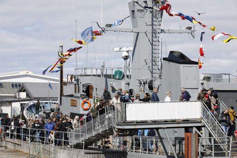The coast guard ship Óðinn was quite an attraction.