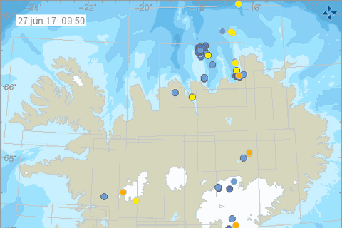 There were over 40 earthquakes at Kolbeinseyjahryggur north of Iceland yesterday.