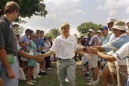 John Daly innan um áhorfendur á PGA-meistaramótinu 1991.