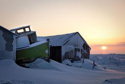 Sólin er sest í Utqiagvik í Alaska.