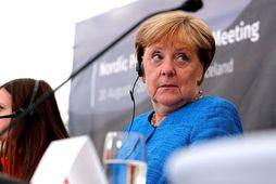 Angela Merkel tjáði hug sinn um Brexit-viðræðurnar á blaðamannafundi í Viðey í gær.